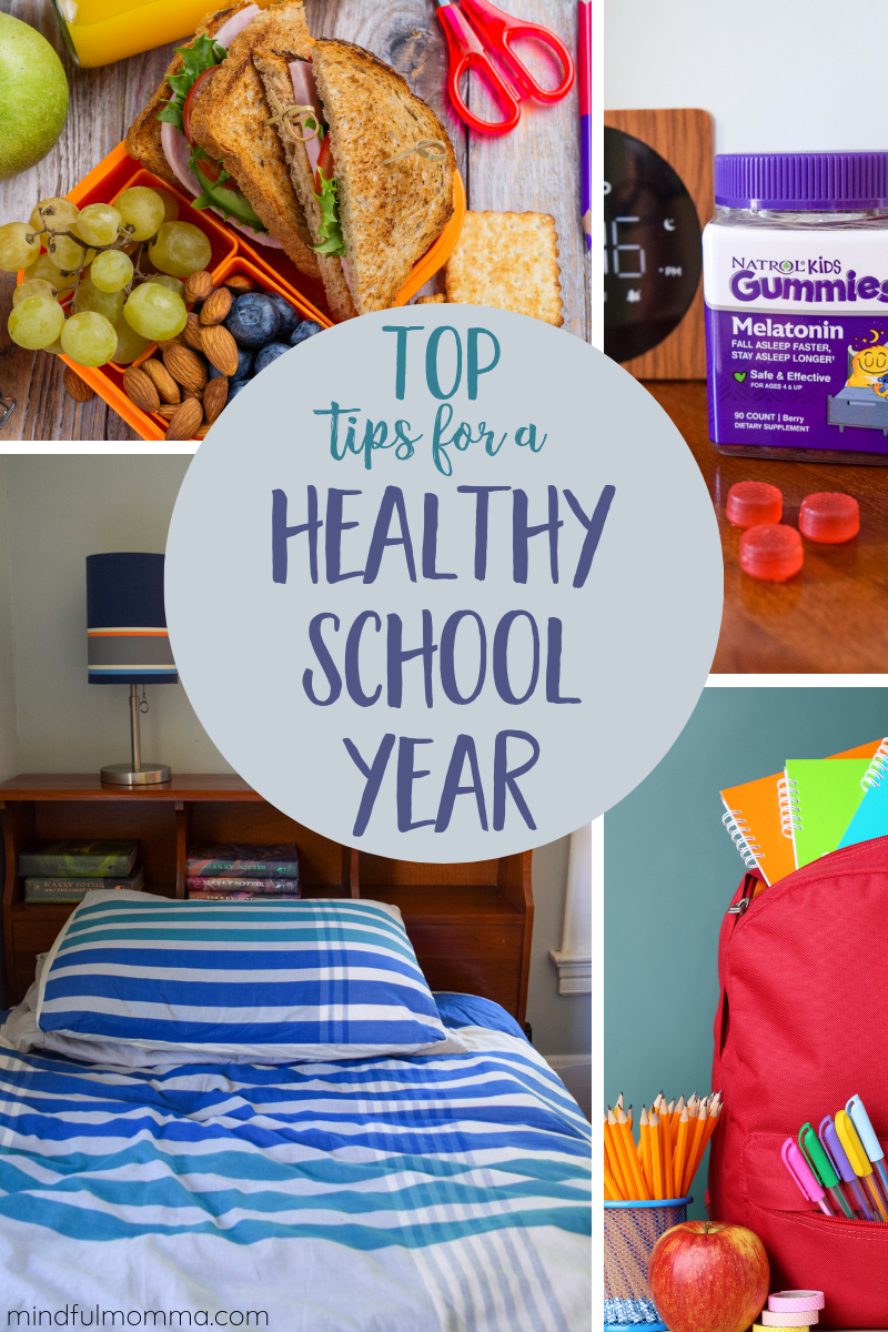Get your kids off to a great start to the school year by following these tips for a healthy sleep routine including Natrol Melatonin, nutritious packed lunches, non-toxic lunch gear and eco-friendly school supplies. | #ad #NatrolNights #NatrolMelatonin #backtoschool #healthykids  via @MindfulMomma