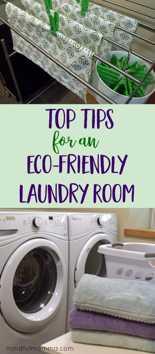 How to make your laundry room more efficient and sustainable using these affordable, space-saving tips and products. | eco friendly laundry | green cleaning tips | #ad  via @MindfulMomma