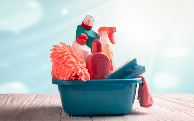 Toxic Cleaning Products in bucket