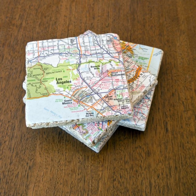 Upcycled Map Coasters from Pop Sugar