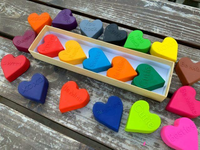 Valentine conversation heart crayons