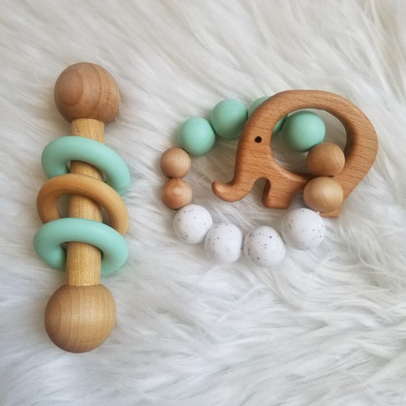 Wooden rattle & teether set ETSY