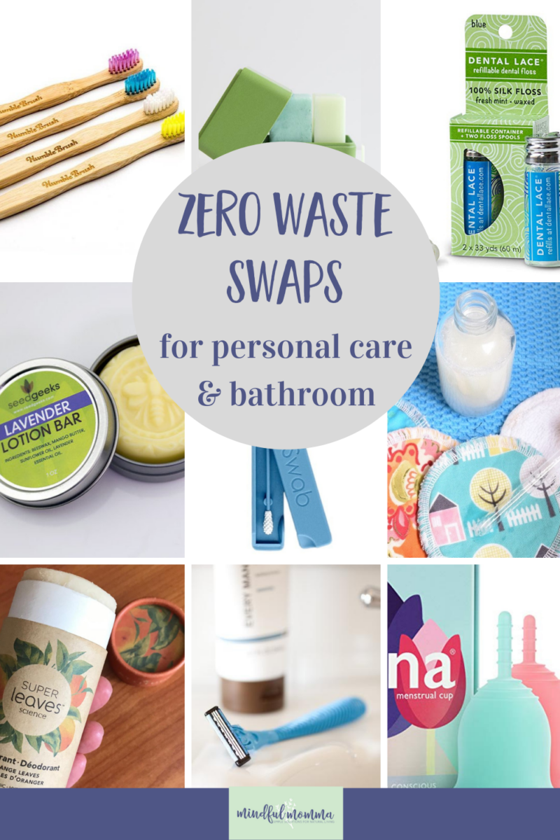 Discover zero waste bathroom swaps for all your personal care items like toothpaste and deodorant, shower products, skincare and beauty, plus reusable products for monthly period needs. via @MindfulMomma