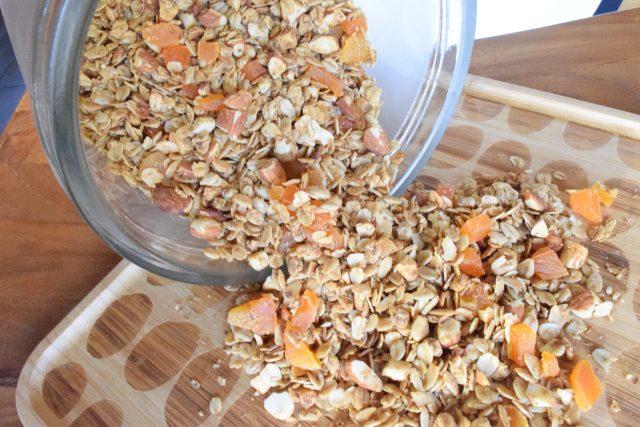 homemade granola on wooden tray