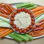 Hummus and vegetables - healthy food for back-to-school