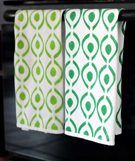 Stenciled Tea Towels from Number Two Pencil