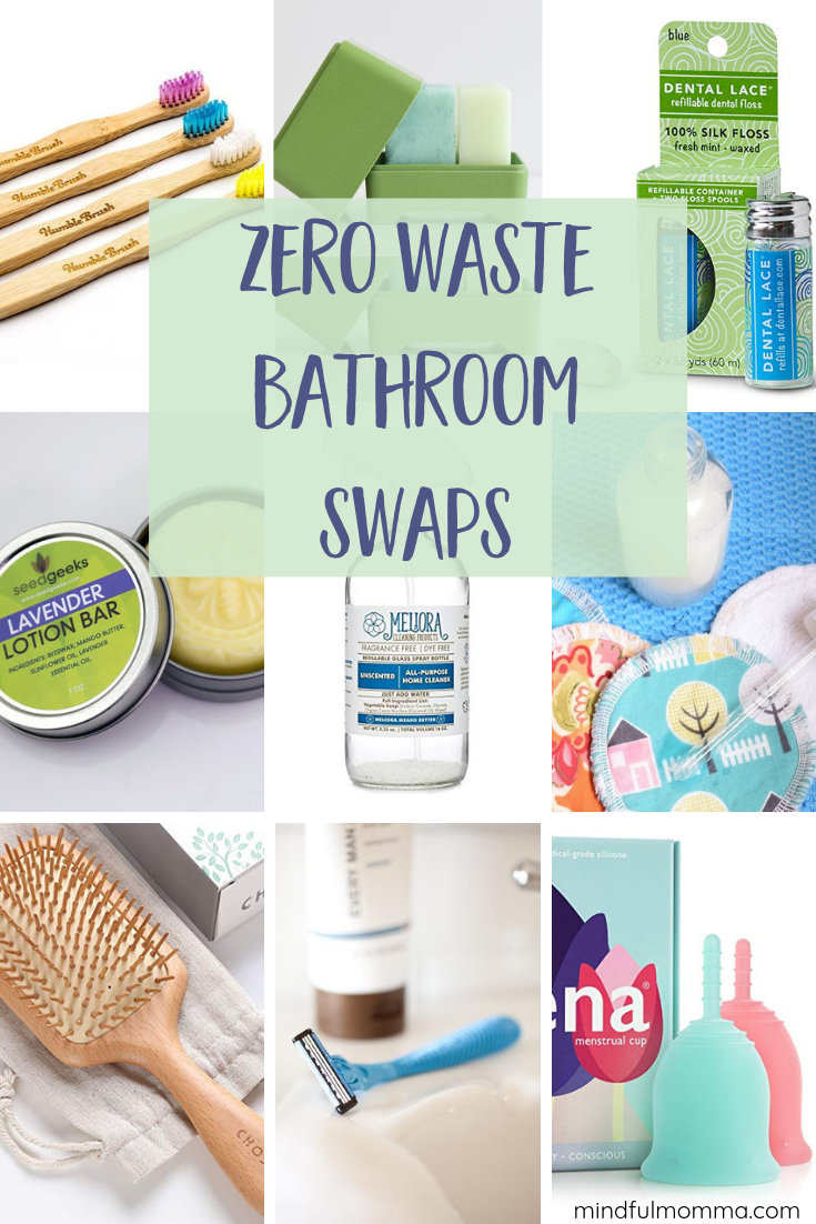 Zero waste bathroom swaps for all the essentials - including personal care items like toothpaste and deodorant, shower products, skincare and beauty, and even zero waste options for women's monthly period needs. | #zerowaste #reusable #ecofriendly #sustainable #bathroom via @MindfulMomma